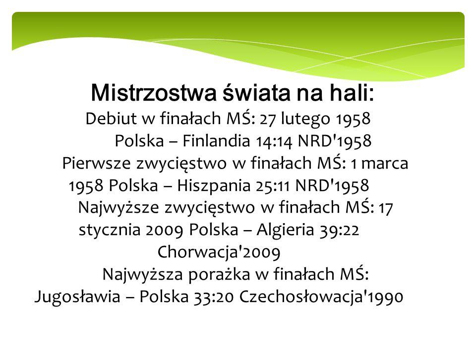 Mistrzostwa świata na hali: Debiut w finałach MŚ: 27 lutego 1958 Polska – Finlandia 14:14 NRD'1958 Pierwsze zwycięstwo w finałach MŚ: 1 marca 1958 Pol