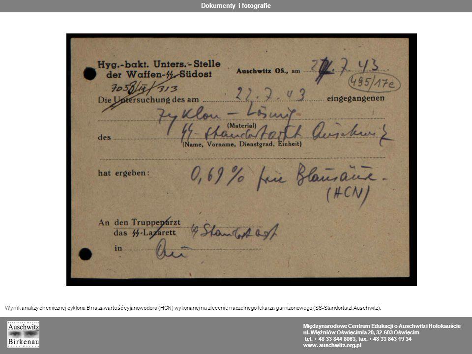 Międzynarodowe Centrum Edukacji o Auschwitz i Holokauście ul. Więźniów Oświęcimia 20, 32-603 Oświęcim tel. + 48 33 844 8063, fax. + 48 33 843 19 34 ww