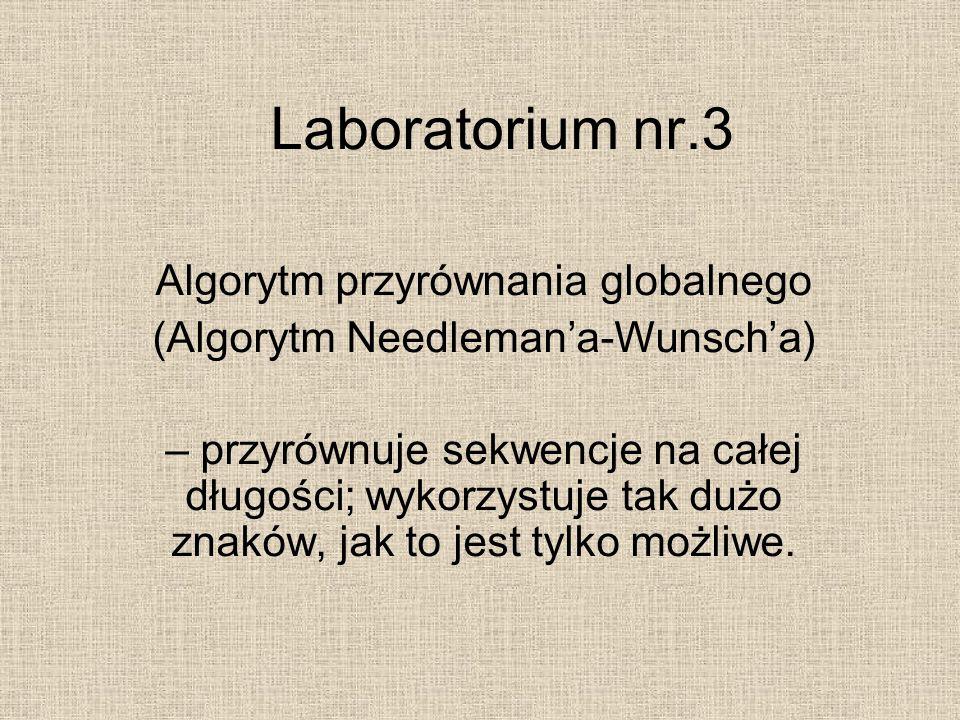 Laboratorium nr.3 Algorytm przyrównania globalnego (Algorytm Needleman'a-Wunsch'a) – przyrównuje sekwencje na całej długości; wykorzystuje tak dużo zn
