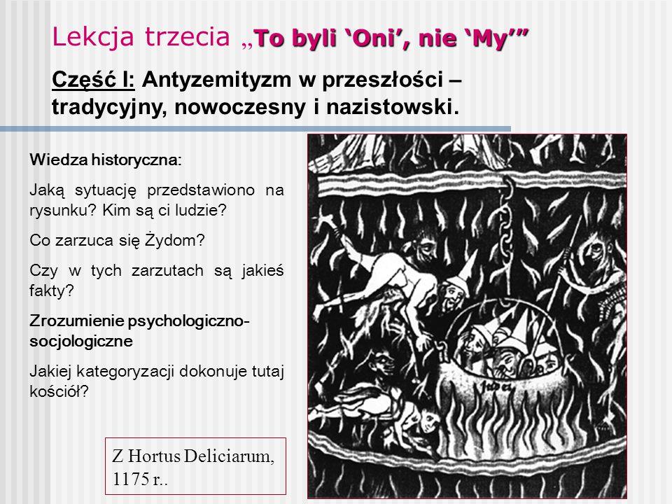 """To byli 'Oni', nie 'My'"""" Lekcja trzecia """" To byli 'Oni', nie 'My'"""" Część I: Antyzemityzm w przeszłości – tradycyjny, nowoczesny i nazistowski. Z Hortu"""