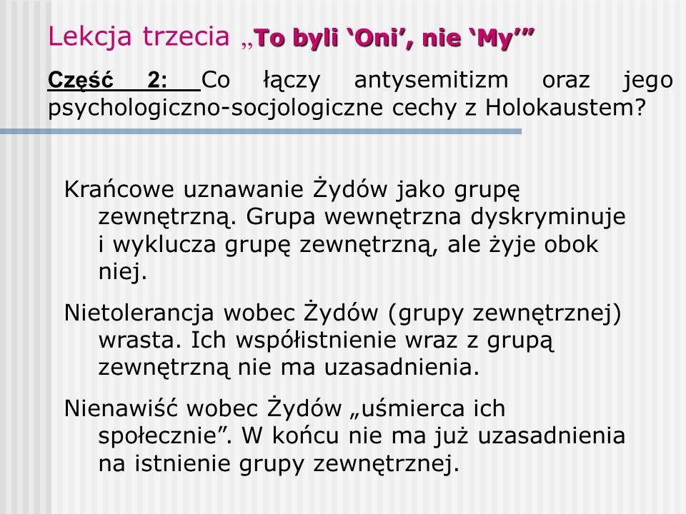 """To byli 'Oni', nie 'My'"""" Lekcja trzecia """" To byli 'Oni', nie 'My'"""" Część 2: Co łączy antysemitizm oraz jego psychologiczno-socjologiczne cechy z Holok"""