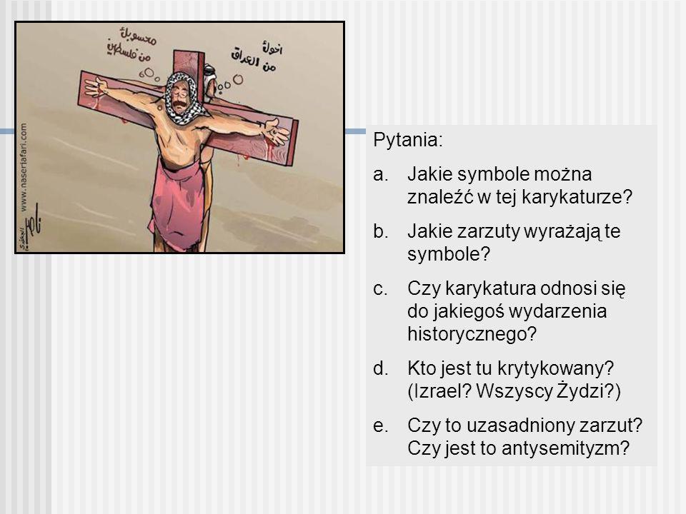 Pytania: a.Jakie symbole można znaleźć w tej karykaturze? b.Jakie zarzuty wyrażają te symbole? c.Czy karykatura odnosi się do jakiegoś wydarzenia hist