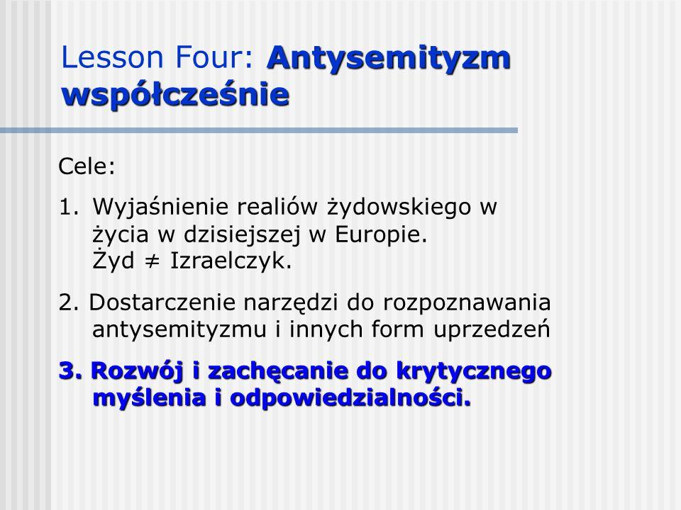 Cele: 1.Wyjaśnienie realiów żydowskiego w życia w dzisiejszej w Europie. Żyd ≠ Izraelczyk. 2. Dostarczenie narzędzi do rozpoznawania antysemityzmu i i