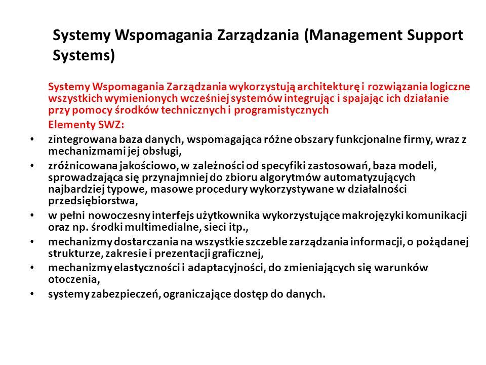 Systemy Wspomagania Zarządzania (Management Support Systems) Systemy Wspomagania Zarządzania wykorzystują architekturę i rozwiązania logiczne wszystkich wymienionych wcześniej systemów integrując i spajając ich działanie przy pomocy środków technicznych i programistycznych Elementy SWZ: zintegrowana baza danych, wspomagająca różne obszary funkcjonalne firmy, wraz z mechanizmami jej obsługi, zróżnicowana jakościowo, w zależności od specyfiki zastosowań, baza modeli, sprowadzająca się przynajmniej do zbioru algorytmów automatyzujących najbardziej typowe, masowe procedury wykorzystywane w działalności przedsiębiorstwa, w pełni nowoczesny interfejs użytkownika wykorzystujące makrojęzyki komunikacji oraz np.