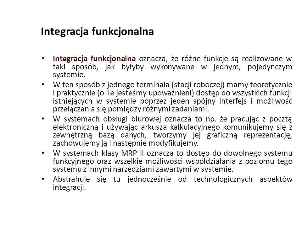 Integracja funkcjonalna Integracja funkcjonalna oznacza, że różne funkcje są realizowane w taki sposób, jak byłyby wykonywane w jednym, pojedynczym systemie.