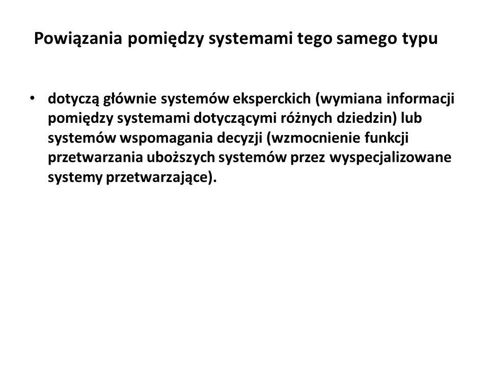 Powiązania pomiędzy systemami tego samego typu dotyczą głównie systemów eksperckich (wymiana informacji pomiędzy systemami dotyczącymi różnych dziedzin) lub systemów wspomagania decyzji (wzmocnienie funkcji przetwarzania uboższych systemów przez wyspecjalizowane systemy przetwarzające).