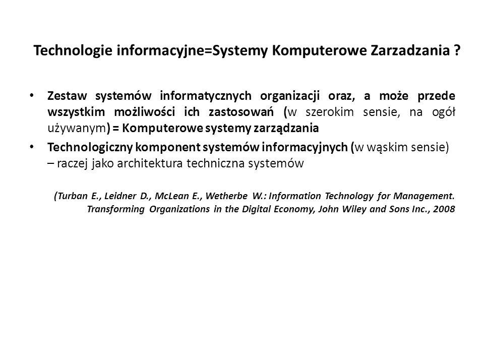 Technologie informacyjne=Systemy Komputerowe Zarzadzania .
