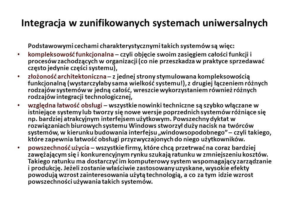 Integracja w zunifikowanych systemach uniwersalnych Podstawowymi cechami charakterystycznymi takich systemów są więc: kompleksowość funkcjonalna – czyli objęcie swoim zasięgiem całości funkcji i procesów zachodzących w organizacji (co nie przeszkadza w praktyce sprzedawać często jedynie części systemu), złożoność architektoniczna – z jednej strony stymulowana kompleksowością funkcjonalną (wystarczyłaby sama wielkość systemu!), z drugiej łączeniem różnych rodzajów systemów w jedną całość, wreszcie wykorzystaniem również różnych rodzajów integracji technologicznej, względna łatwość obsługi – wszystkie nowinki techniczne są szybko włączane w istniejące systemy lub tworzy się nowe wersje poprzednich systemów różniące się np.
