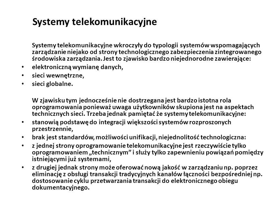 Systemy telekomunikacyjne Systemy telekomunikacyjne wkroczyły do typologii systemów wspomagających zarządzanie niejako od strony technologicznego zabezpieczenia zintegrowanego środowiska zarządzania.
