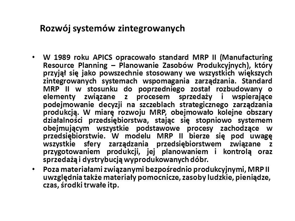 Rozwój systemów zintegrowanych W 1989 roku APICS opracowało standard MRP II (Manufacturing Resource Planning – Planowanie Zasobów Produkcyjnych), który przyjął się jako powszechnie stosowany we wszystkich większych zintegrowanych systemach wspomagania zarządzania.