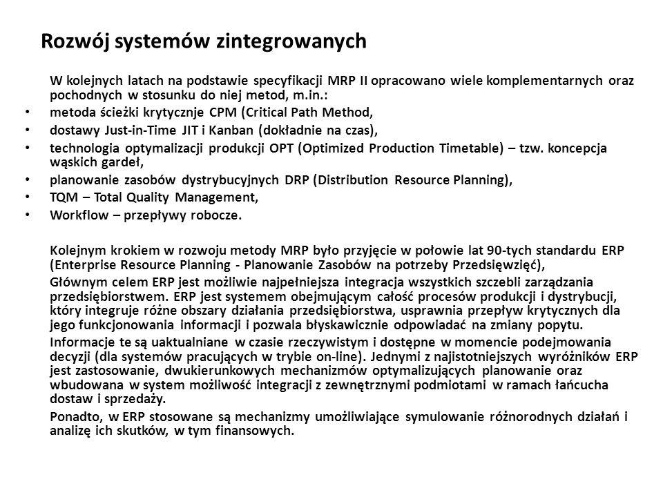 Rozwój systemów zintegrowanych W kolejnych latach na podstawie specyfikacji MRP II opracowano wiele komplementarnych oraz pochodnych w stosunku do niej metod, m.in.: metoda ścieżki krytycznje CPM (Critical Path Method, dostawy Just-in-Time JIT i Kanban (dokładnie na czas), technologia optymalizacji produkcji OPT (Optimized Production Timetable) – tzw.