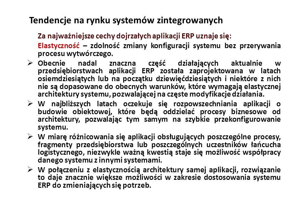 Tendencje na rynku systemów zintegrowanych Za najważniejsze cechy dojrzałych aplikacji ERP uznaje się: Elastyczność – zdolność zmiany konfiguracji systemu bez przerywania procesu wytwórczego.