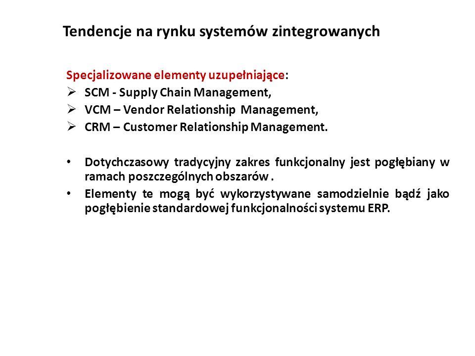 Tendencje na rynku systemów zintegrowanych Specjalizowane elementy uzupełniające:  SCM - Supply Chain Management,  VCM – Vendor Relationship Management,  CRM – Customer Relationship Management.