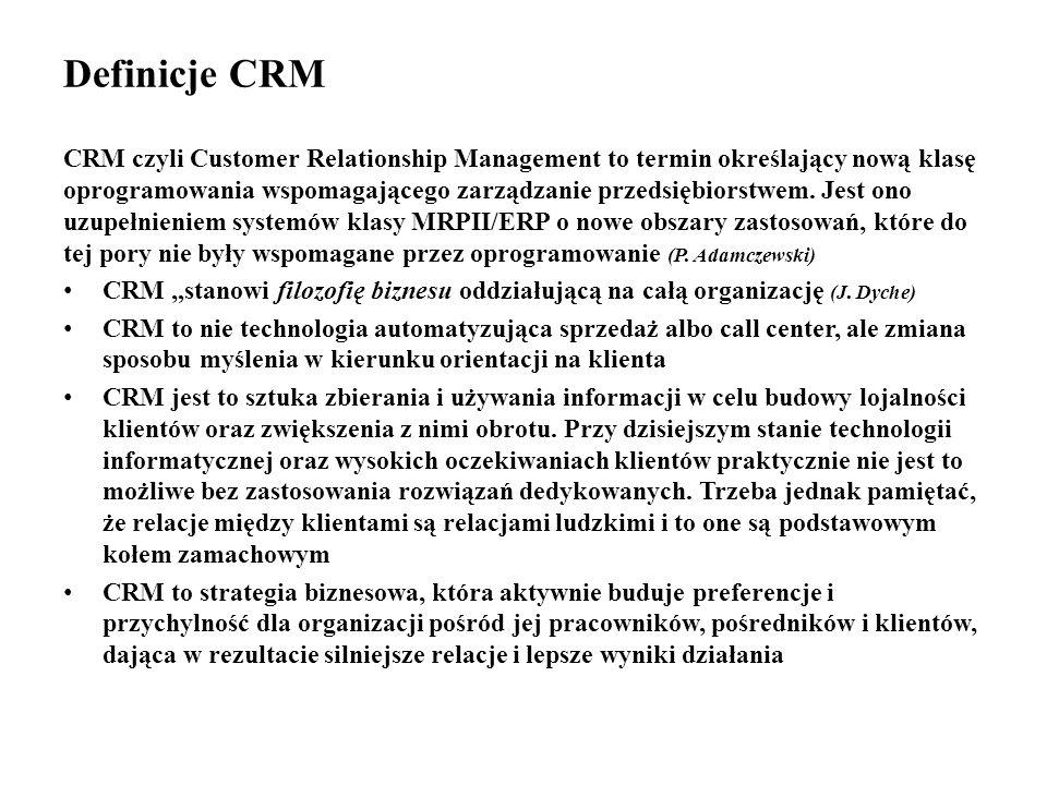Definicje CRM CRM czyli Customer Relationship Management to termin określający nową klasę oprogramowania wspomagającego zarządzanie przedsiębiorstwem.