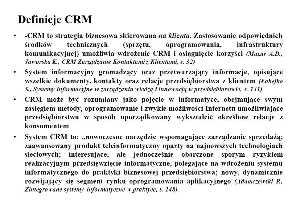 Definicje CRM -CRM to strategia biznesowa skierowana na klienta.