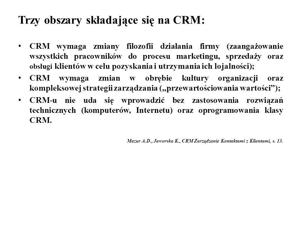 """Trzy obszary składające się na CRM: CRM wymaga zmiany filozofii działania firmy (zaangażowanie wszystkich pracowników do procesu marketingu, sprzedaży oraz obsługi klientów w celu pozyskania i utrzymania ich lojalności); CRM wymaga zmian w obrębie kultury organizacji oraz kompleksowej strategii zarządzania (""""przewartościowania wartości ); CRM-u nie uda się wprowadzić bez zastosowania rozwiązań technicznych (komputerów, Internetu) oraz oprogramowania klasy CRM."""