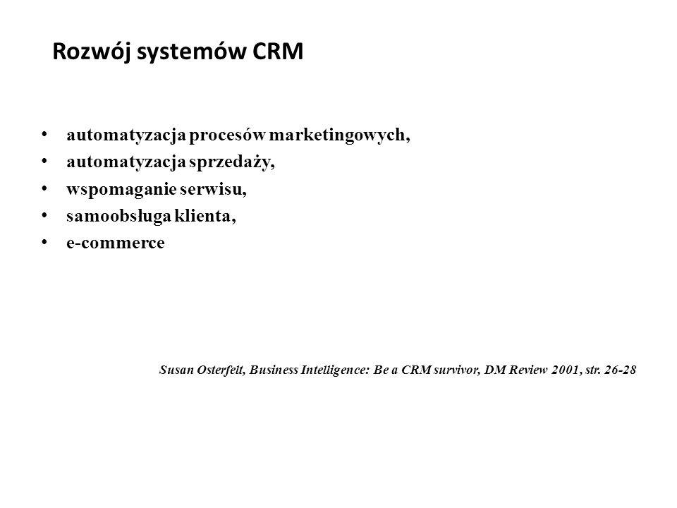 Rozwój systemów CRM automatyzacja procesów marketingowych, automatyzacja sprzedaży, wspomaganie serwisu, samoobsługa klienta, e-commerce Susan Osterfelt, Business Intelligence: Be a CRM survivor, DM Review 2001, str.