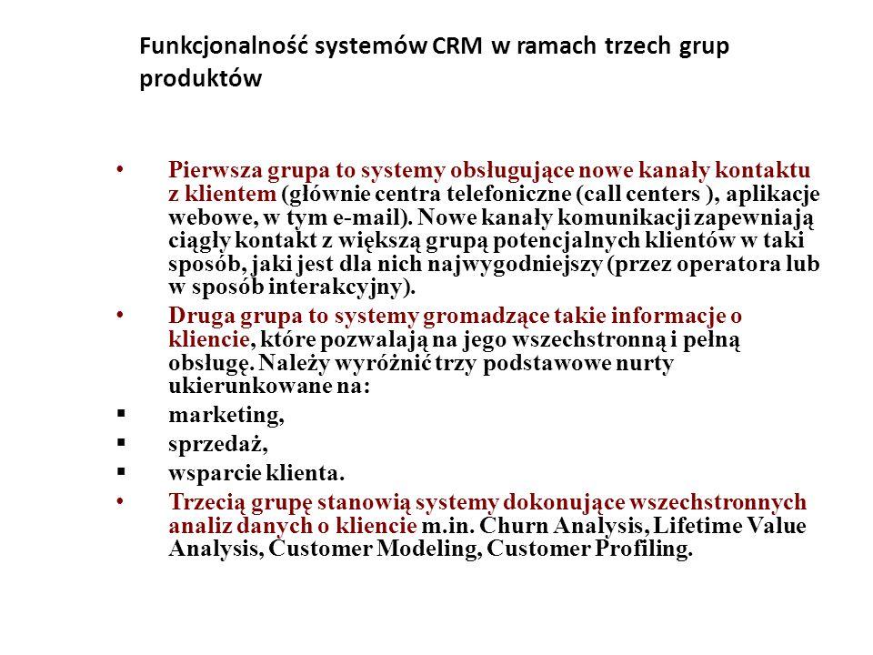 Funkcjonalność systemów CRM w ramach trzech grup produktów Pierwsza grupa to systemy obsługujące nowe kanały kontaktu z klientem (głównie centra telefoniczne (call centers ), aplikacje webowe, w tym e-mail).