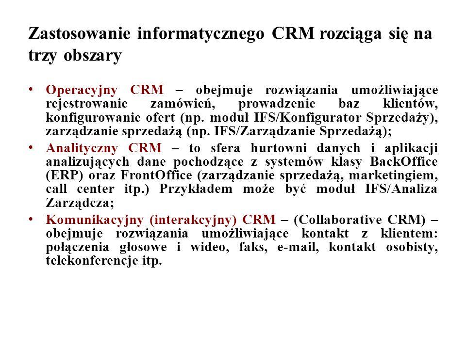 Zastosowanie informatycznego CRM rozciąga się na trzy obszary Operacyjny CRM – obejmuje rozwiązania umożliwiające rejestrowanie zamówień, prowadzenie baz klientów, konfigurowanie ofert (np.