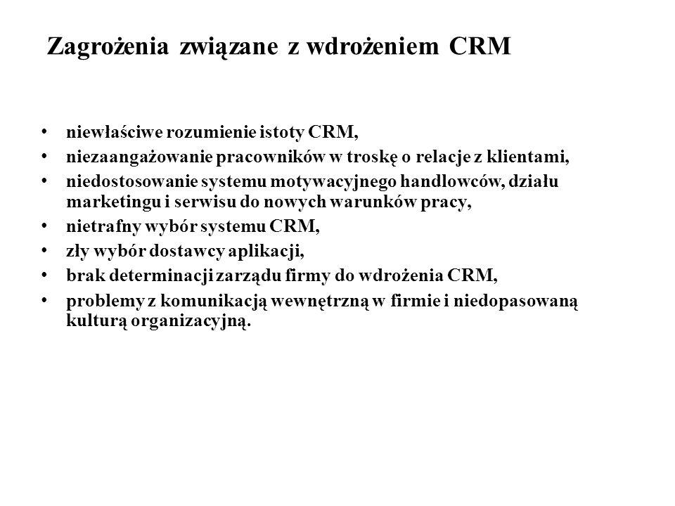 Zagrożenia związane z wdrożeniem CRM niewłaściwe rozumienie istoty CRM, niezaangażowanie pracowników w troskę o relacje z klientami, niedostosowanie systemu motywacyjnego handlowców, działu marketingu i serwisu do nowych warunków pracy, nietrafny wybór systemu CRM, zły wybór dostawcy aplikacji, brak determinacji zarządu firmy do wdrożenia CRM, problemy z komunikacją wewnętrzną w firmie i niedopasowaną kulturą organizacyjną.