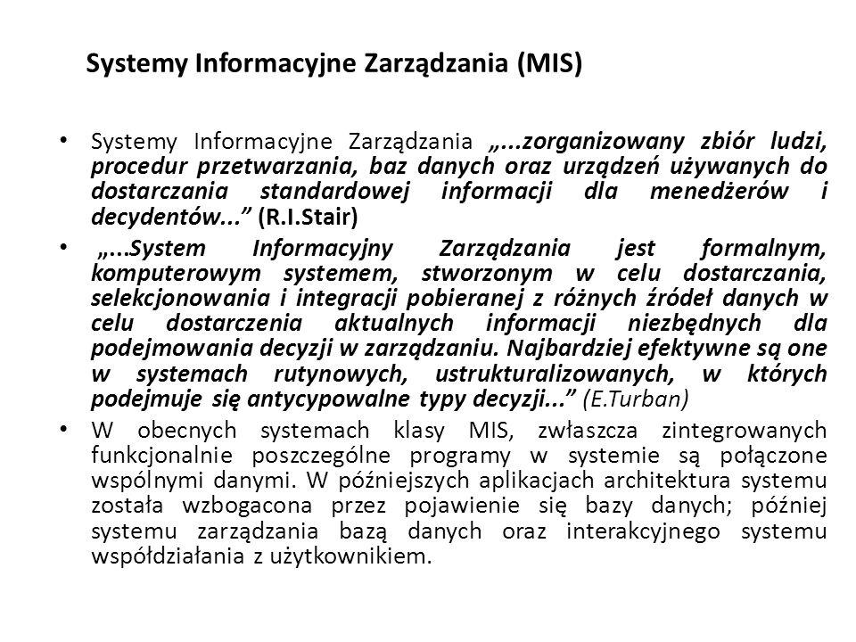 """Systemy Informacyjne Zarządzania (MIS) Systemy Informacyjne Zarządzania """"...zorganizowany zbiór ludzi, procedur przetwarzania, baz danych oraz urządzeń używanych do dostarczania standardowej informacji dla menedżerów i decydentów... (R.I.Stair) """"...System Informacyjny Zarządzania jest formalnym, komputerowym systemem, stworzonym w celu dostarczania, selekcjonowania i integracji pobieranej z różnych źródeł danych w celu dostarczenia aktualnych informacji niezbędnych dla podejmowania decyzji w zarządzaniu."""