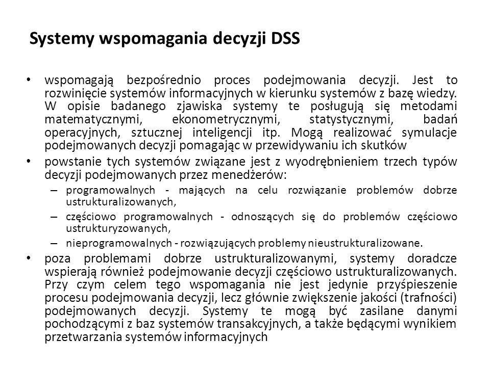 Systemy wspomagania decyzji DSS wspomagają bezpośrednio proces podejmowania decyzji.