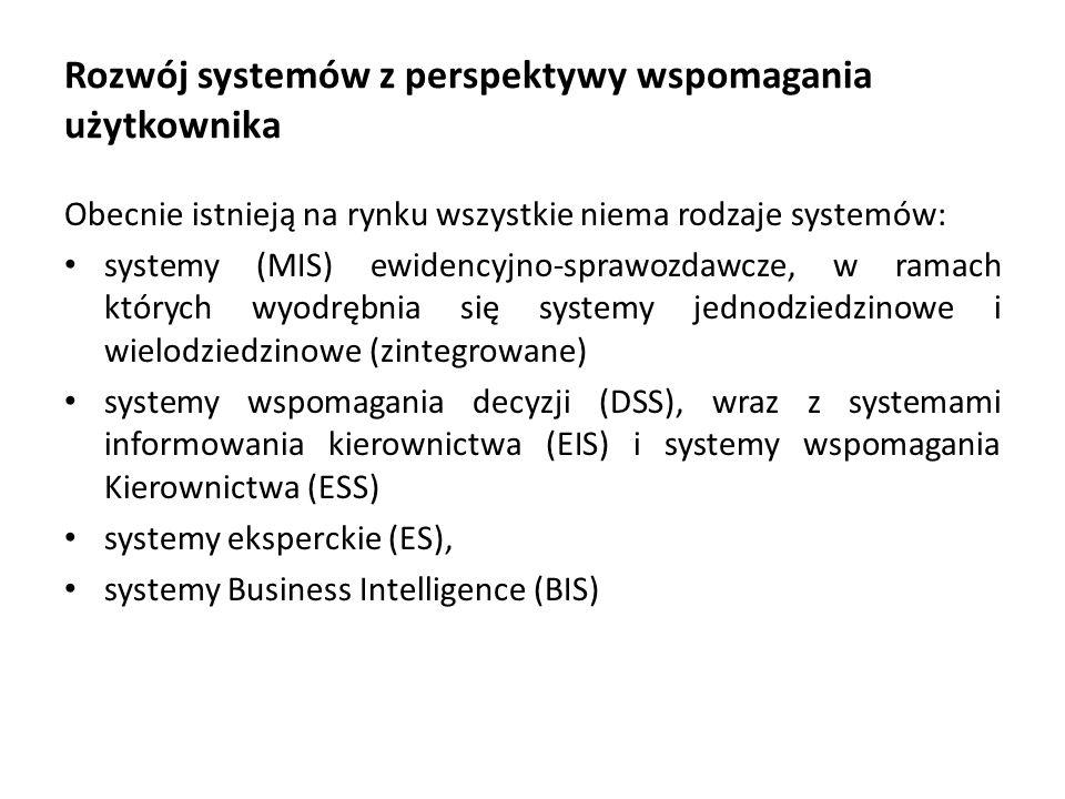 Rozwój systemów z perspektywy wspomagania użytkownika Obecnie istnieją na rynku wszystkie niema rodzaje systemów: systemy (MIS) ewidencyjno-sprawozdawcze, w ramach których wyodrębnia się systemy jednodziedzinowe i wielodziedzinowe (zintegrowane) systemy wspomagania decyzji (DSS), wraz z systemami informowania kierownictwa (EIS) i systemy wspomagania Kierownictwa (ESS) systemy eksperckie (ES), systemy Business Intelligence (BIS)