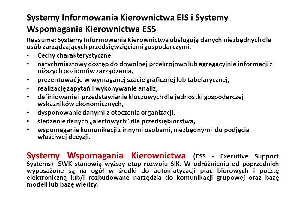 Systemy Informowania Kierownictwa EIS i Systemy Wspomagania Kierownictwa ESS Reasume: Systemy Informowania Kierownictwa obsługują danych niezbędnych dla osób zarządzających przedsięwzięciami gospodarczymi.