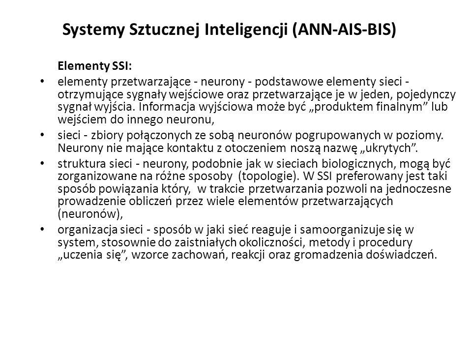 Systemy Sztucznej Inteligencji (ANN-AIS-BIS) Elementy SSI: elementy przetwarzające - neurony - podstawowe elementy sieci - otrzymujące sygnały wejściowe oraz przetwarzające je w jeden, pojedynczy sygnał wyjścia.