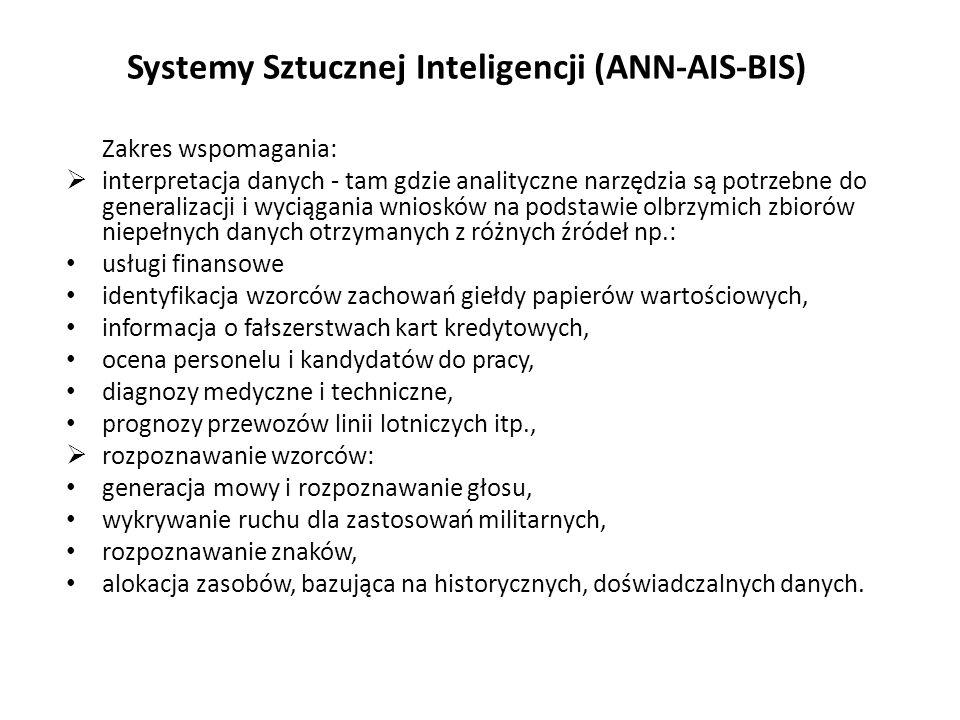 Systemy Sztucznej Inteligencji (ANN-AIS-BIS) Zakres wspomagania:  interpretacja danych - tam gdzie analityczne narzędzia są potrzebne do generalizacji i wyciągania wniosków na podstawie olbrzymich zbiorów niepełnych danych otrzymanych z różnych źródeł np.: usługi finansowe identyfikacja wzorców zachowań giełdy papierów wartościowych, informacja o fałszerstwach kart kredytowych, ocena personelu i kandydatów do pracy, diagnozy medyczne i techniczne, prognozy przewozów linii lotniczych itp.,  rozpoznawanie wzorców: generacja mowy i rozpoznawanie głosu, wykrywanie ruchu dla zastosowań militarnych, rozpoznawanie znaków, alokacja zasobów, bazująca na historycznych, doświadczalnych danych.