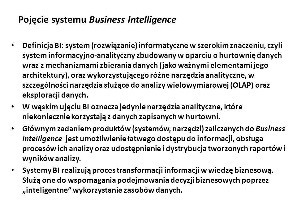 Pojęcie systemu Business Intelligence Definicja BI: system (rozwiązanie) informatyczne w szerokim znaczeniu, czyli system informacyjno-analityczny zbudowany w oparciu o hurtownię danych wraz z mechanizmami zbierania danych (jako ważnymi elementami jego architektury), oraz wykorzystującego różne narzędzia analityczne, w szczególności narzędzia służące do analizy wielowymiarowej (OLAP) oraz eksploracji danych.