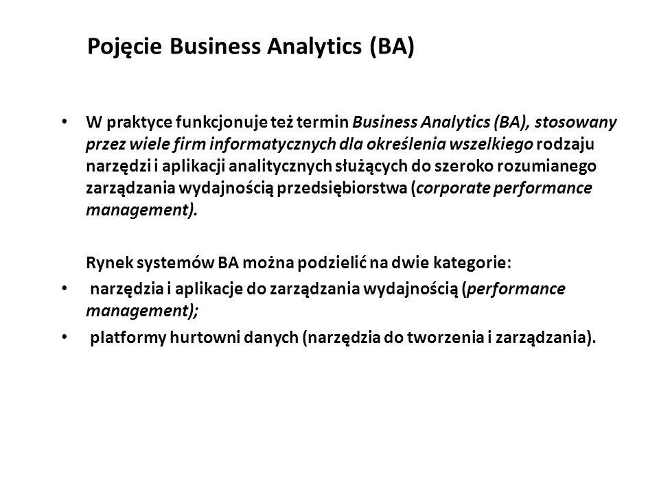 Pojęcie Business Analytics (BA) W praktyce funkcjonuje też termin Business Analytics (BA), stosowany przez wiele firm informatycznych dla określenia wszelkiego rodzaju narzędzi i aplikacji analitycznych służących do szeroko rozumianego zarządzania wydajnością przedsiębiorstwa (corporate performance management).
