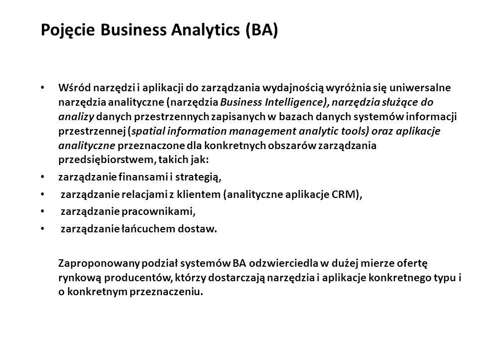 Pojęcie Business Analytics (BA) Wśród narzędzi i aplikacji do zarządzania wydajnością wyróżnia się uniwersalne narzędzia analityczne (narzędzia Business Intelligence), narzędzia służące do analizy danych przestrzennych zapisanych w bazach danych systemów informacji przestrzennej (spatial information management analytic tools) oraz aplikacje analityczne przeznaczone dla konkretnych obszarów zarządzania przedsiębiorstwem, takich jak: zarządzanie finansami i strategią, zarządzanie relacjami z klientem (analityczne aplikacje CRM), zarządzanie pracownikami, zarządzanie łańcuchem dostaw.