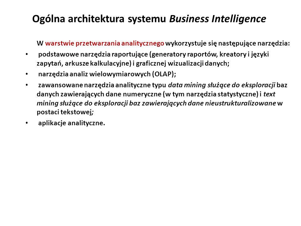 Ogólna architektura systemu Business Intelligence W warstwie przetwarzania analitycznego wykorzystuje się następujące narzędzia: podstawowe narzędzia raportujące (generatory raportów, kreatory i języki zapytań, arkusze kalkulacyjne) i graficznej wizualizacji danych; narzędzia analiz wielowymiarowych (OLAP); zawansowane narzędzia analityczne typu data mining służące do eksploracji baz danych zawierających dane numeryczne (w tym narzędzia statystyczne) i text mining służące do eksploracji baz zawierających dane nieustrukturalizowane w postaci tekstowej; aplikacje analityczne.