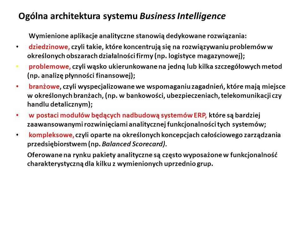 Ogólna architektura systemu Business Intelligence Wymienione aplikacje analityczne stanowią dedykowane rozwiązania: dziedzinowe, czyli takie, które koncentrują się na rozwiązywaniu problemów w określonych obszarach działalności firmy (np.