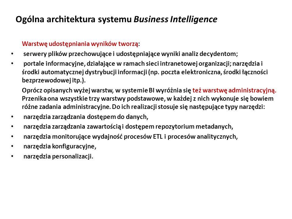 Ogólna architektura systemu Business Intelligence Warstwę udostępniania wyników tworzą: serwery plików przechowujące i udostępniające wyniki analiz decydentom; portale informacyjne, działające w ramach sieci intranetowej organizacji; narzędzia i środki automatycznej dystrybucji informacji (np.