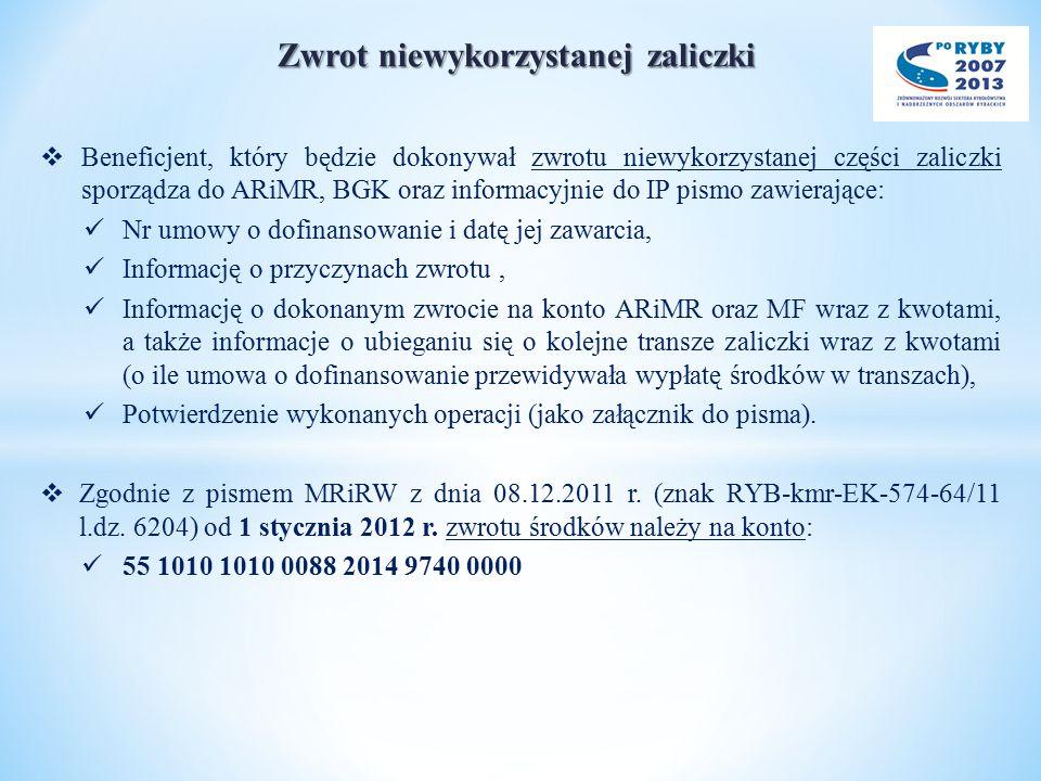 Zwrot niewykorzystanej zaliczki  Beneficjent, który będzie dokonywał zwrotu niewykorzystanej części zaliczki sporządza do ARiMR, BGK oraz informacyjnie do IP pismo zawierające: Nr umowy o dofinansowanie i datę jej zawarcia, Informację o przyczynach zwrotu, Informację o dokonanym zwrocie na konto ARiMR oraz MF wraz z kwotami, a także informacje o ubieganiu się o kolejne transze zaliczki wraz z kwotami (o ile umowa o dofinansowanie przewidywała wypłatę środków w transzach), Potwierdzenie wykonanych operacji (jako załącznik do pisma).