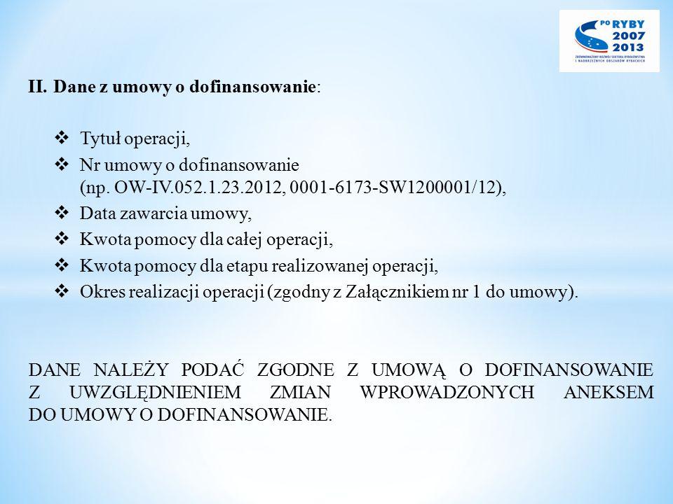 II.Dane z umowy o dofinansowanie:  Tytuł operacji,  Nr umowy o dofinansowanie (np. OW-IV.052.1.23.2012, 0001-6173-SW1200001/12),  Data zawarcia umo