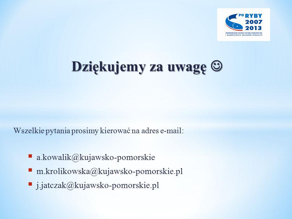 Dziękujemy za uwagę Dziękujemy za uwagę Wszelkie pytania prosimy kierować na adres e-mail:  a.kowalik@kujawsko-pomorskie  m.krolikowska@kujawsko-pomorskie.pl  j.jatczak@kujawsko-pomorskie.pl