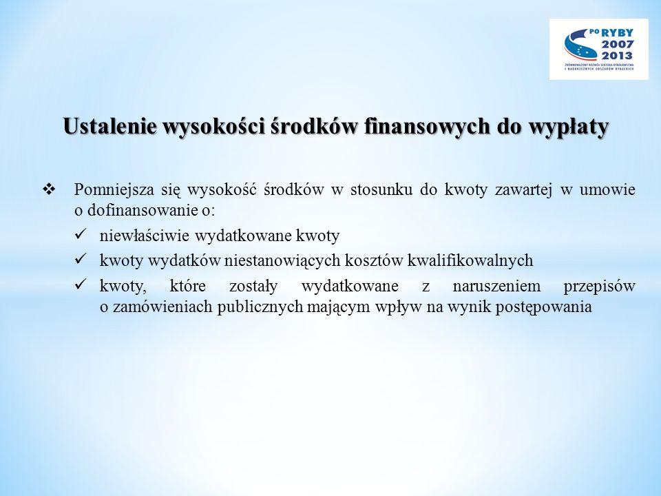 Ustalenie wysokości środków finansowych do wypłaty  Pomniejsza się wysokość środków w stosunku do kwoty zawartej w umowie o dofinansowanie o: niewłaś