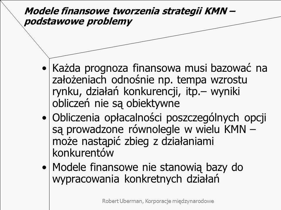 Robert Uberman, Korporacje międzynarodowe Modele finansowe tworzenia strategii KMN – podstawowe problemy Każda prognoza finansowa musi bazować na zało