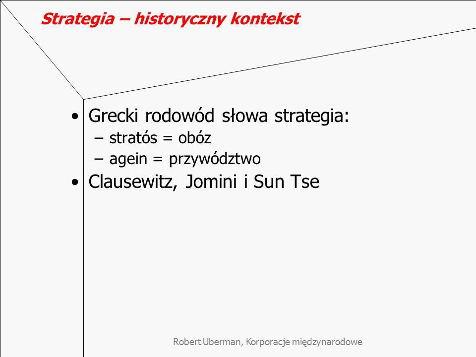 Strategia – historyczny kontekst Grecki rodowód słowa strategia: –stratós = obóz –agein = przywództwo Clausewitz, Jomini i Sun Tse