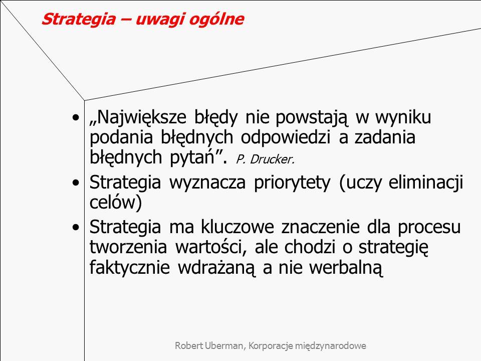"""Strategia – uwagi ogólne """"Największe błędy nie powstają w wyniku podania błędnych odpowiedzi a zadania błędnych pytań"""". P. Drucker. Strategia wyznacza"""