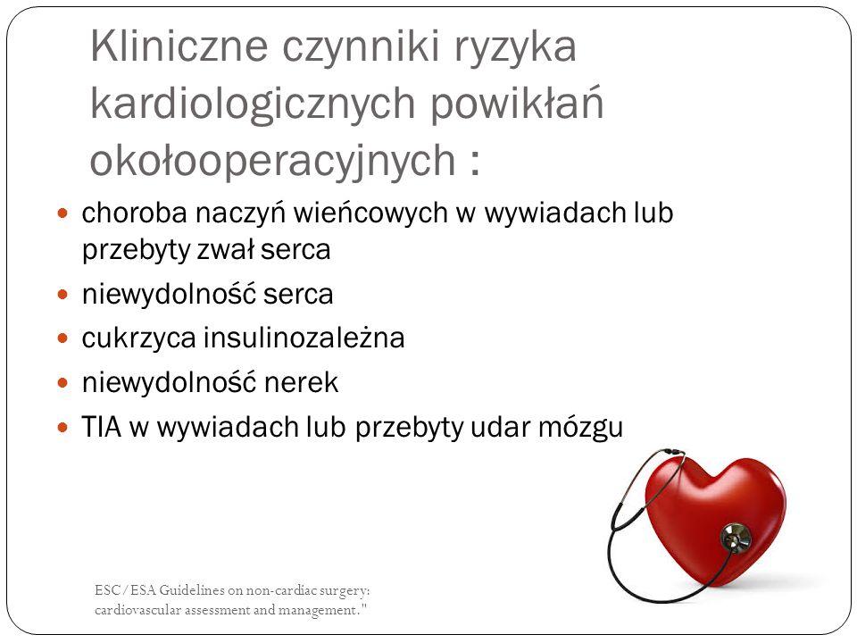 ESC/ESA Guidelines on non-cardiac surgery: cardiovascular assessment and management. β - adrenolityki: ZalecenieSiła zaleceń Zaleca się kontynuację podawania betablokerów w okresie okołooperacyjnym u chorych którzy już otrzymują te leki.
