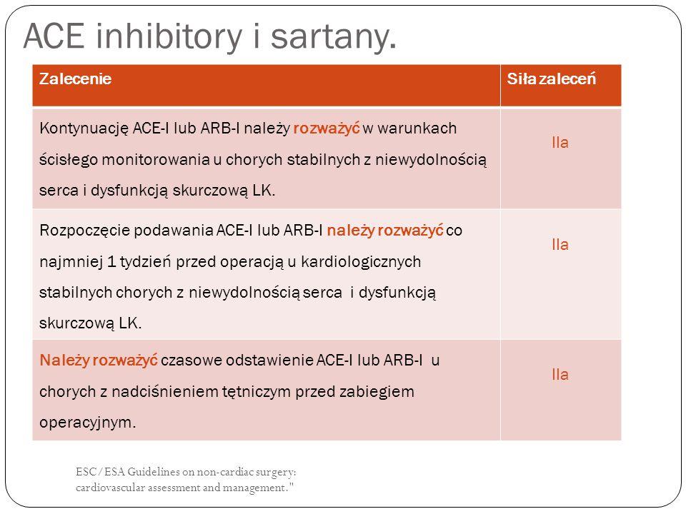 ESC/ESA Guidelines on non-cardiac surgery: cardiovascular assessment and management. Leki przeciwkrzepliwe.