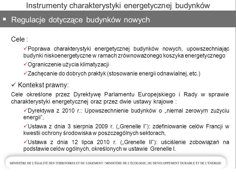 """Instrumenty charakterystyki energetycznej budynków  Regulacje dotyczące budynków nowych Cele : Poprawa charakterystyki energetycznej budynków nowych, upowszechniając budynki niskoenergetyczne w ramach zrównoważonego koszyka energetycznego Ograniczenie użycia klimatyzacji Zachęcanie do dobrych praktyk (stosowanie energii odnawialnej, etc.) Kontekst prawny: Cele określone przez Dyrektywę Parlamentu Europejskiego i Rady w sprawie charakterystyki energetycznej oraz przez dwie ustawy krajowe : Dyrektywa z 2010 r.: Upowszechnienie budynków o """"niemal zerowym zużyciu energii , Ustawa z dnia 3 sierpnia 2009 r."""