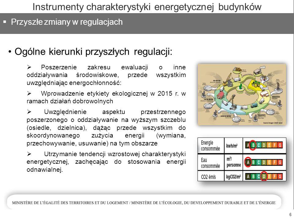 Ogólne kierunki przyszłych regulacji: 6  Przyszłe zmiany w regulacjach Instrumenty charakterystyki energetycznej budynków  Poszerzenie zakresu ewaluacji o inne oddziaływania środowiskowe, przede wszystkim uwzględniając energochłonność:  Wprowadzenie etykiety ekologicznej w 2015 r.