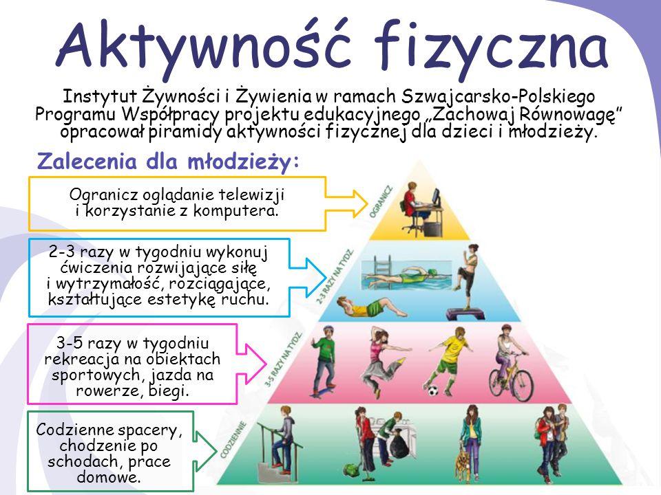 Aktywność fizyczna U podstawy piramidy znajduje się aktywność fizyczna.