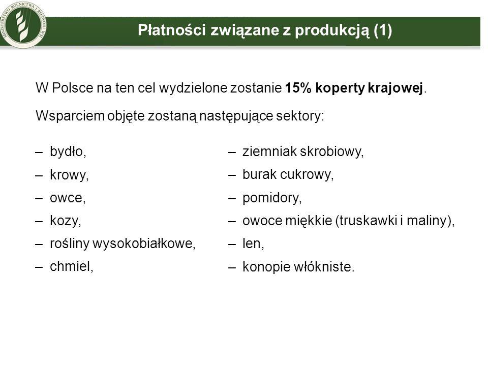 Płatności związane z produkcją (1) W Polsce na ten cel wydzielone zostanie 15% koperty krajowej. Wsparciem objęte zostaną następujące sektory: –bydło,