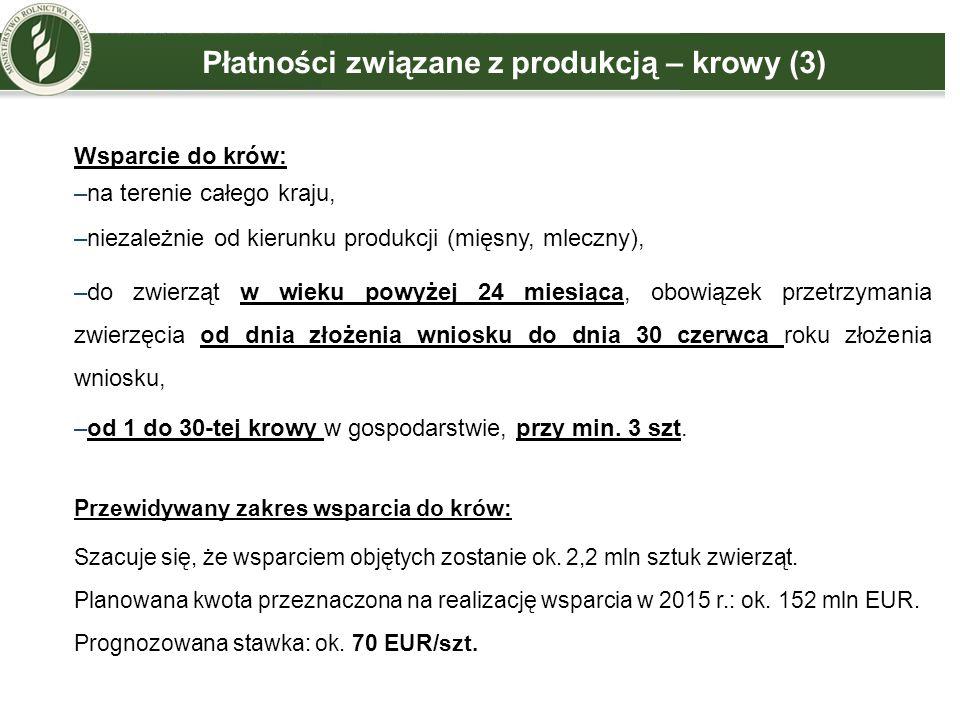 Płatności związane z produkcją – krowy (3) Wsparcie do krów: –na terenie całego kraju, –niezależnie od kierunku produkcji (mięsny, mleczny), –do zwier